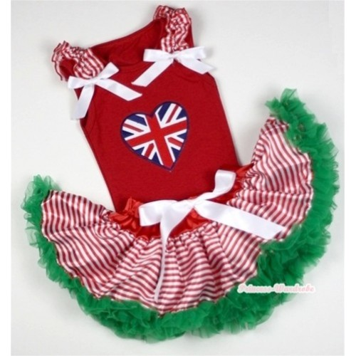 Red Baby Pettitop In Patriotic Britain Heart Print with Red White Striped Ruffles White Bow with Red White Striped mix Christmas Green Baby Pettiskirt NG1058