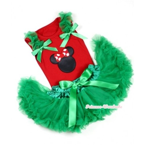 Red Baby Pettitop In Minnie Print with Kelly Green Ruffles Kelly Green Bow with Kelly Green Baby Pettiskirt NG1081
