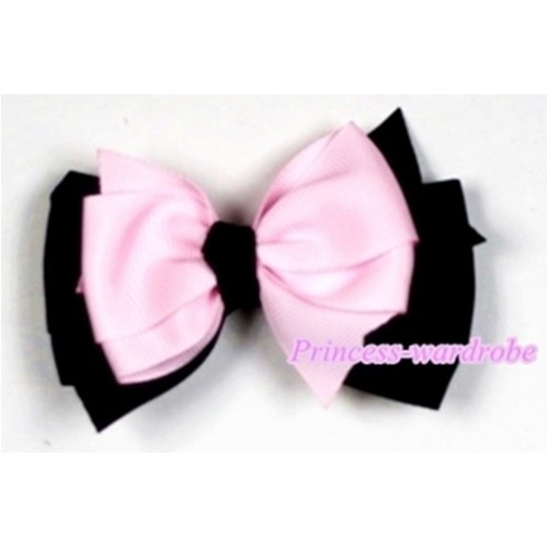 Light Pink Black Ribbon Bow Hair Clip H496