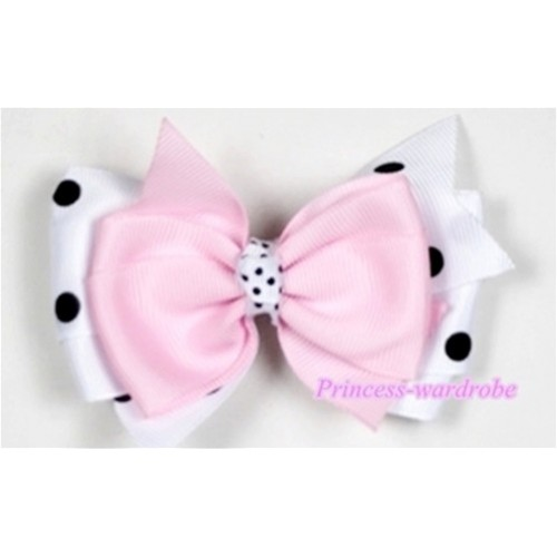 Light Pink & White Black Polka Dots Ribbon Bow Hair Clip H497