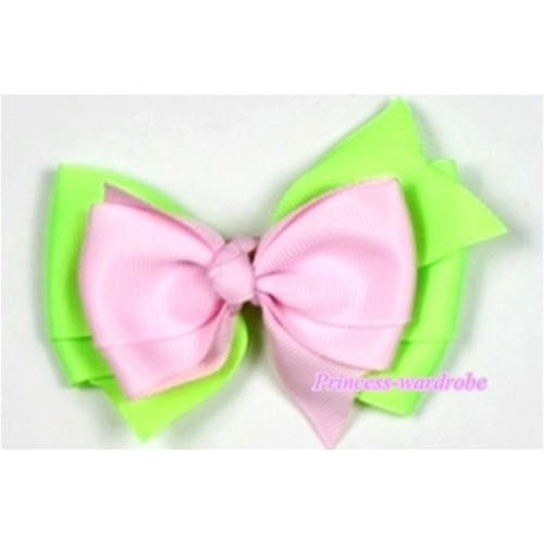 Light Pink Light Green Ribbon Bow Hair Clip H500