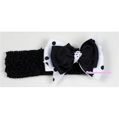 Black Headband with Black &White Black Polka Dots Ribbon Hair Bow Clip H510