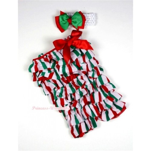 Christmas Stick Petti Romper with Red Bow and White Headband Red Green Bow Set RH87