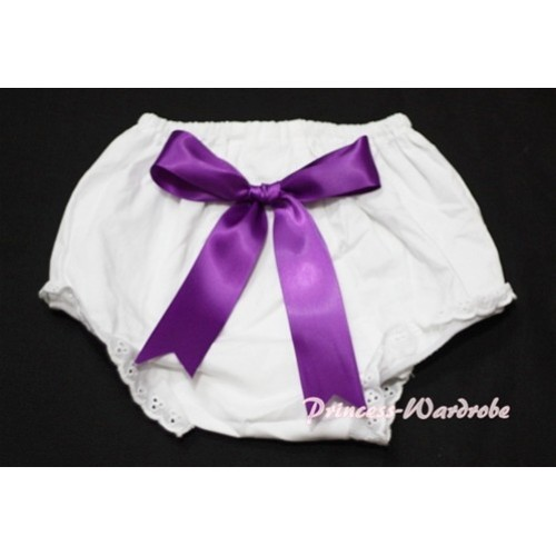 White Bloomers & Purple Big Bow BC104