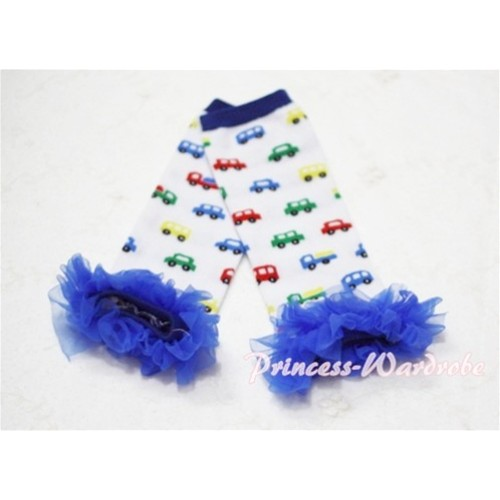 Newborn Baby Colorful Vehicle Leg Warmers Leggings with Royal Blue Ruffles LG34