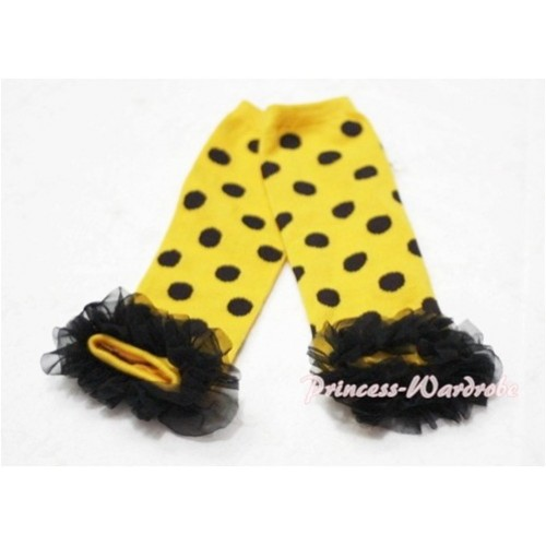 Newborn Baby Black Polka Dots Yellow Leg Warmers Leggings with Black Ruffles LG39