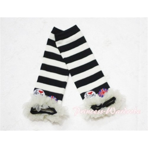 Newborn Baby Black & White Stripes Leg Warmers Leggings with Cream White Ruffles LG43