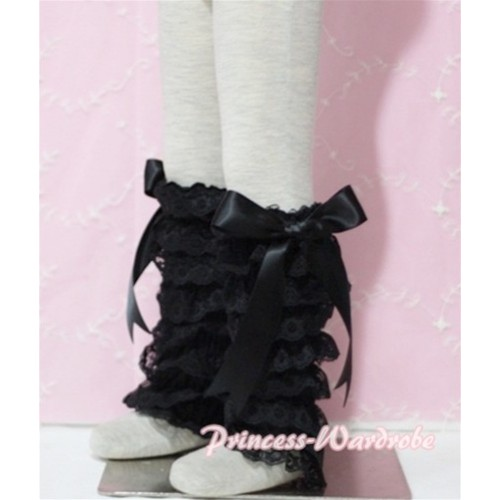 Baby Black Lace Leg Warmers Leggings with Black Ribbon LG70