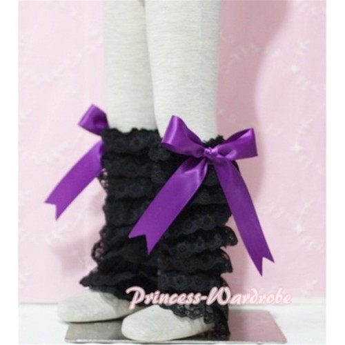 Baby Black Lace Leg Warmers Leggings with Purple Ribbon LG73