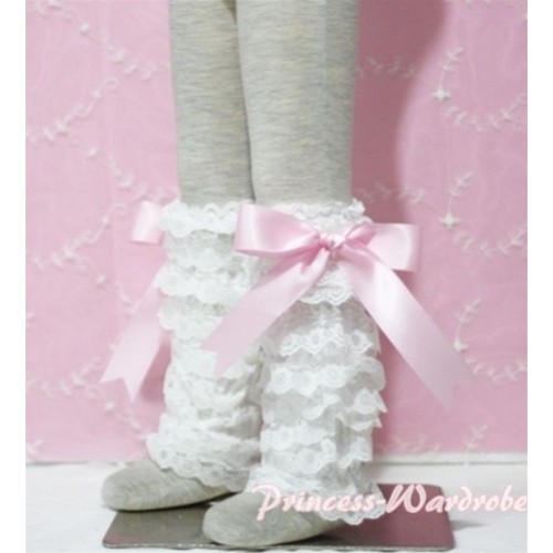 Baby Cream White Lace Leg Warmers Leggings with Pink Ribbon LG77