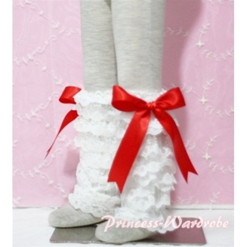 Baby Cream White Lace Leg Warmers Leggings with Red Ribbon LG80