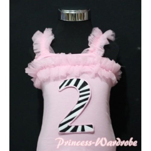 2nd Zebra Printing Pink Spaghetti Strap Ruffle Pettitop Top TM130