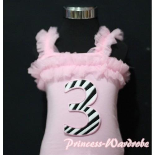 3rd Zebra Printing Pink Spaghetti Strap Ruffle Pettitop Top TM131