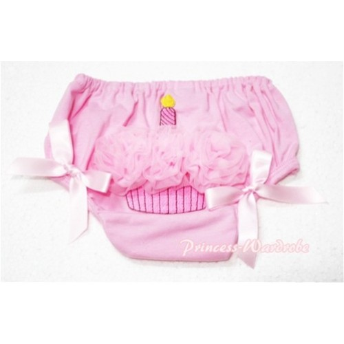 Pink Bloomers WIith Light Pink Rosettes Cupcake &Light Pink Bow BC51