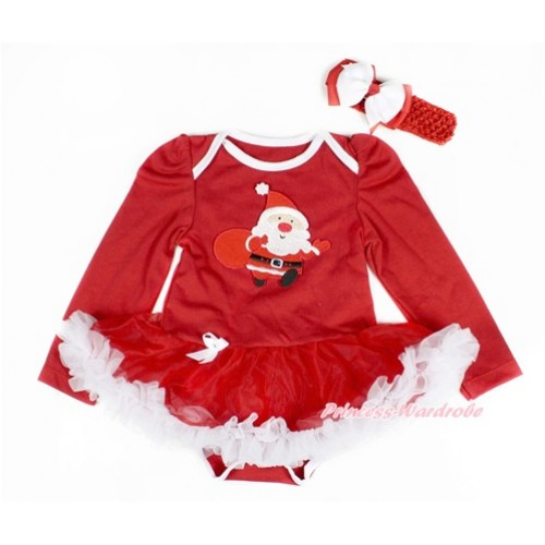 Xmas Red Long Sleeve Baby Bodysuit Jumpsuit Red White Pettiskirt With Gift Bag Samta Claus Print Red Headband White Red Ribbon Bow JS2406