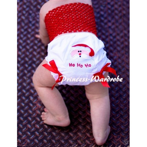 Red Crochet Tube Top with Christmas Santa Claus Panties Bloomers with Red Bow CT54