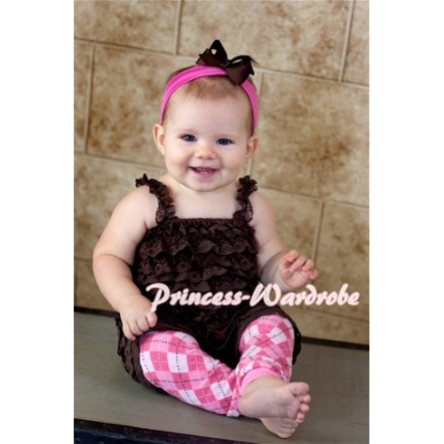 Brown Lace Ruffles Petti Rompers with Straps LR37