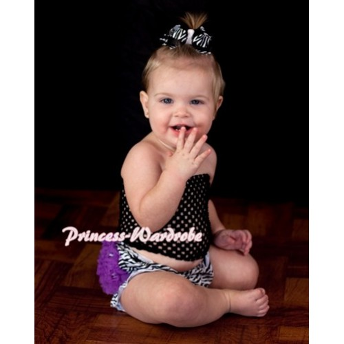Black Crochet Tube Top with Dark Purple Zebra Panties Bloomers CT55