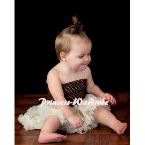 Brown Crochet Tube Top with Cream White Baby Pettiskirt CT60