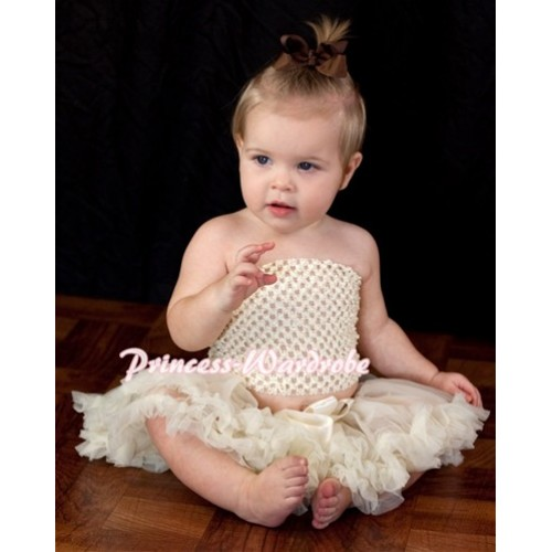 Cream White Crochet Tube Top with Cream White Baby Pettiskirt CT61