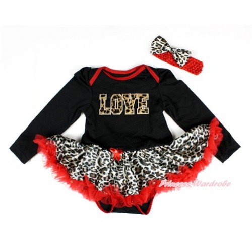 Black Long Sleeve Baby Bodysuit Jumpsuit Leopard Red Pettiskirt With Leopard LOVE Print & Red Headband Leopard Satin Bow JS2420