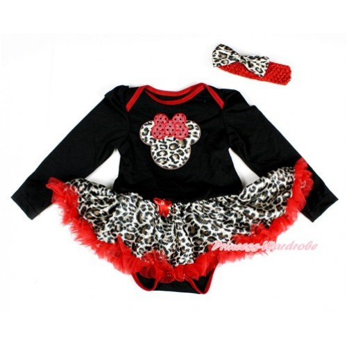 Black Long Sleeve Baby Bodysuit Jumpsuit Leopard Red Pettiskirt With Leopard Minnie Print & Red Headband Leopard Satin Bow JS2421