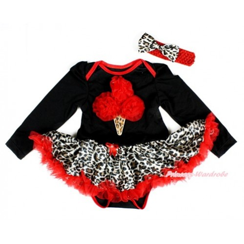 Black Long Sleeve Baby Bodysuit Jumpsuit Leopard Red Pettiskirt With Red Rosettes Leopard Ice Cream Print & Red Headband Leopard Satin Bow JS2430