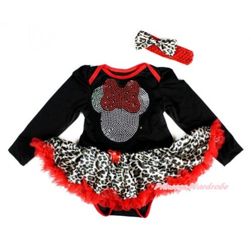 Black Long Sleeve Baby Bodysuit Jumpsuit Leopard Red Pettiskirt With Sparkle Crystal Bling Red Minnie Print & Red Headband Leopard Satin Bow JS2432