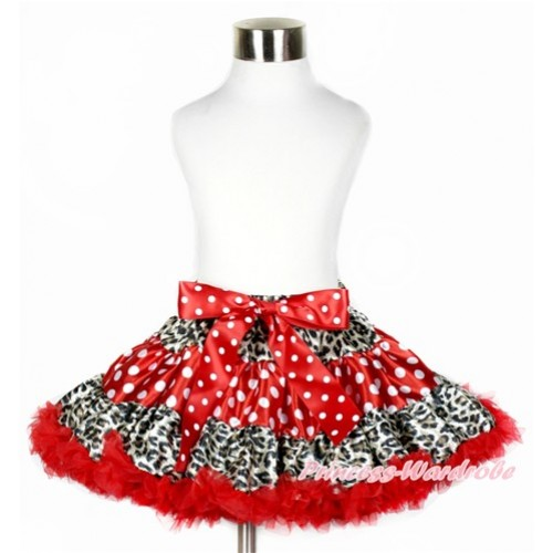 Leopard Minnie Dots Red Full Pettiskirt P177