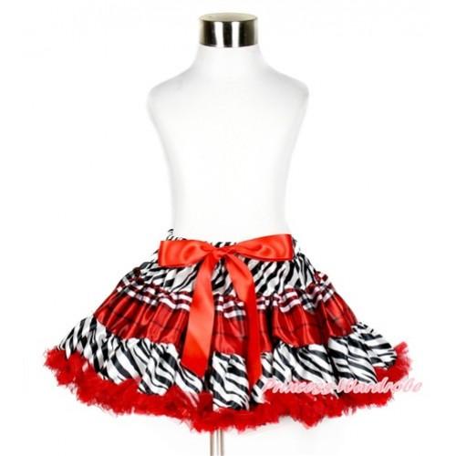 Zebra Red Black Checked Red Full Pettiskirt P178