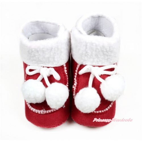 Red Newborn Toddler Baby Crib Boots with White Cherries SB38
