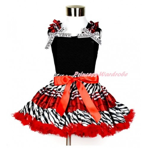 Black Tank Top & Red Black Checked Ruffles & Zebra Ribbon with Zebra Red Black Checked Pettiskirt MG853
