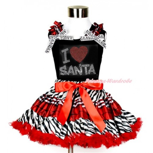 Black Tank Top with Sparkle Crystal Bling Rhinestone I Love Santa Print with Red Black Checked Ruffles & Zebra Bows With Zebra Red Black Checked Pettiskirt MG854