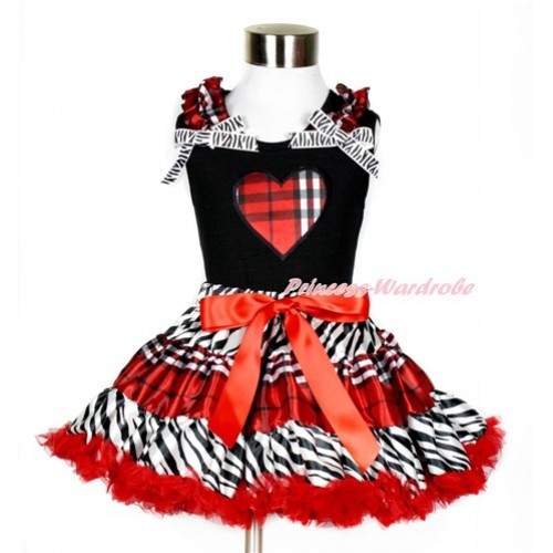 Black Tank Top with Red Black Checked Heart Print with Red Black Checked Ruffles & Zebra Bows With Zebra Red Black Checked Pettiskirt MG860