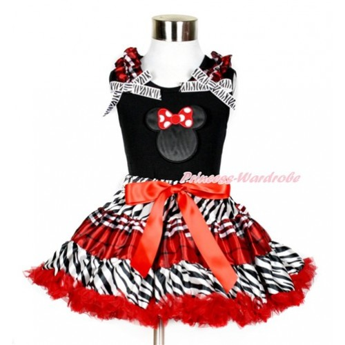 Black Tank Top with Minnie Print with Red Black Checked Ruffles & Zebra Bows With Zebra Red Black Checked Pettiskirt MG862