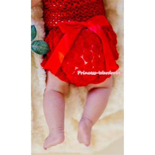 Red Romantic Rose Panties Bloomers with Red Bow BR31