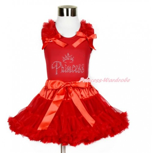 Red Tank Top with Rhinestone Sparkle Crystal Bling Princess Print with Red Ruffles & Red Bows With Red Pettiskirt CM177