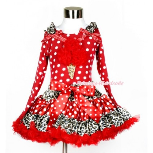 Leopard Minnie Dots Red Pettiskirt with Red Rosettes Leopard Ice Cream Print Minnie Dots Long Sleeve Top with Leopard Ruffles and Minnie Dots Bow MW379