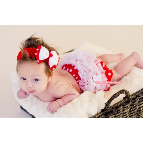 White Ruffles Hot Red White Polka Dot Panties Bloomers & Red Headband Red White Polka Dots White Bow BA01