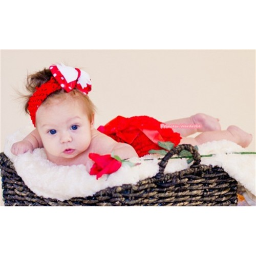 Red Romantic Rose Panties Bloomers with Red Bow & Red Headband Red White Polka Dots White Bow BA02