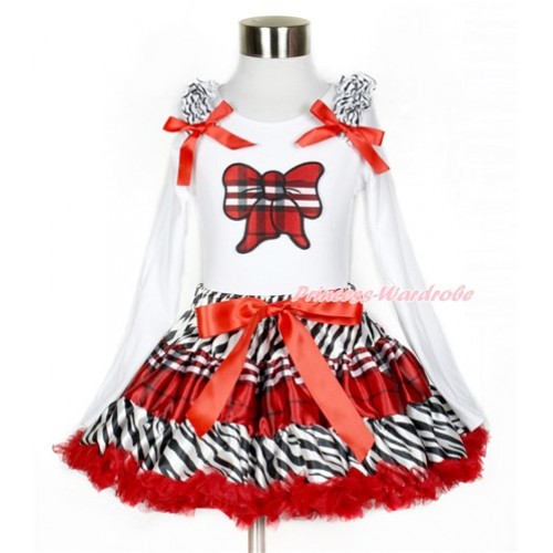 Zebra Red Black Check Pettiskirt with Red Black Check Butterfly Print White Long Sleeve Top with Zebra Ruffles and Red Bow MW388