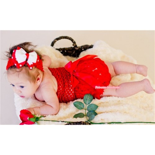 Red Romantic Rose Panties Bloomers with Red Bow,Red Crochet Tube Top and Hot Red White Polka Dots White Bow Red Headband 3PC Set CT494