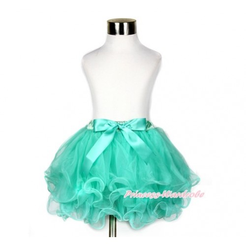 Aqua Blue Flower Petal Newborn Baby Pettiskirt With Aqua Blue Bow N205