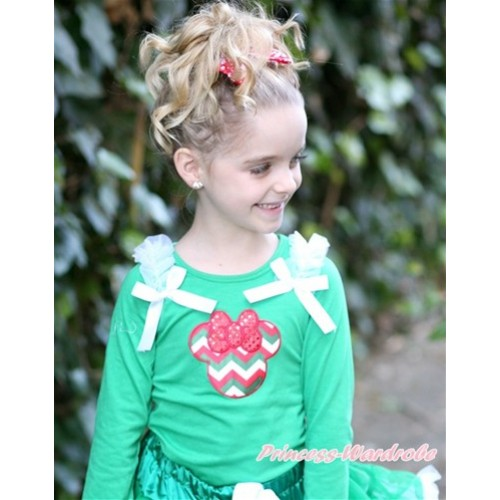 Kelly Green Long Sleeves Top with Red White Green Wave Minnie Print With White Ruffles & White Bow TO306