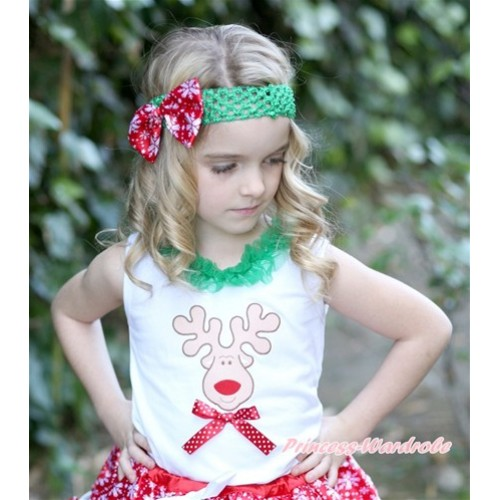 Xmas White Tank Top With Christmas Reindeer Print & Minnie Dots Bow With Kelly Green Lacing TB551