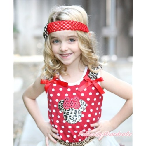 Minnie Dots Tank Top With Leopard Minnie With Leopard Ruffles & Red Bow TB552