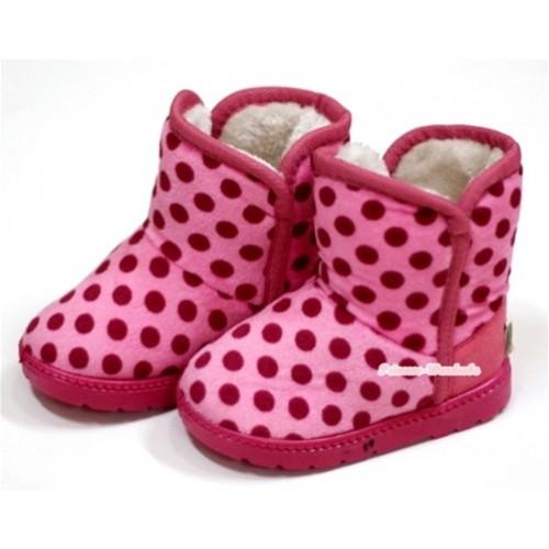 Light Pink Wine Red Polka Dots Warm Children Boots SB23