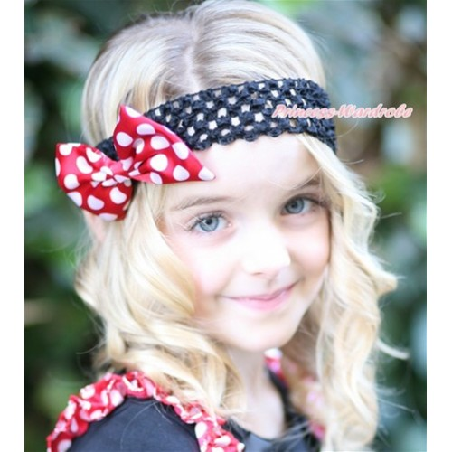 Black Headband With Minnie Dots Satin Bow Hair Clip H786