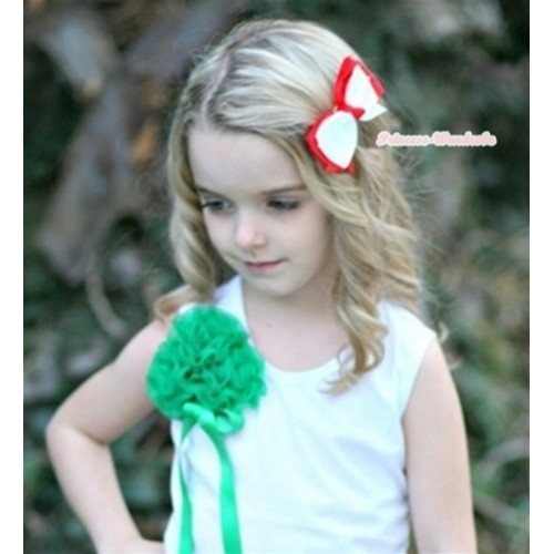 Xmas Hot Red White Layer Ribbon Hair Bow Clip H234