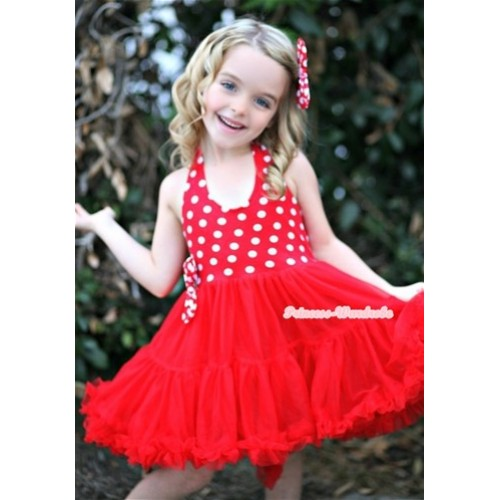 Minnie Red White Polka Dots with ONE-PIECE Petti Dress with Satin Bow LP10